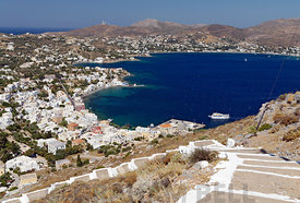 View of Aghia Marina and Alinta Bay from Panteli Castle, Leros, Dodecanese Islands, Greece.