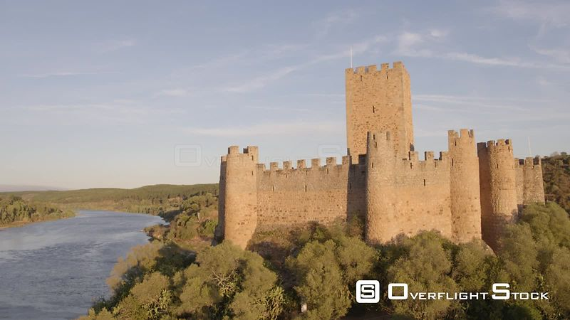 Castle of Almourol Knights Templar Drone Video Portugal