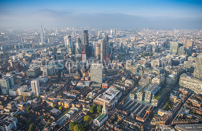 Aerial view of London, City of London skyline with The Shard.