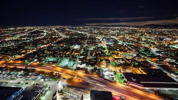 Bird's Eye: 180 Degree Pan Of Highway 10 Zooming Next To The Staples Center