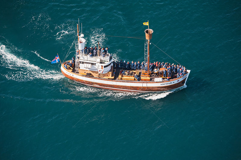 Aerial view of whale watching boat and whale watchers, Skjalfandi Bay, northern Iceland, June 2011
