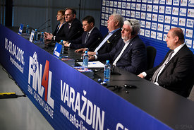 Siniša OSTOIĆ, Michael WIEDERER, Alexander MESHKOV, Mihajlo MIHAJLOVSKI during the Final Tournament - Final Four - SEHA - Gazprom league, Sponsorship press conference, Croatia, 02.04.2016, ..Mandatory Credit ©SEHA/Nebojša Tejić