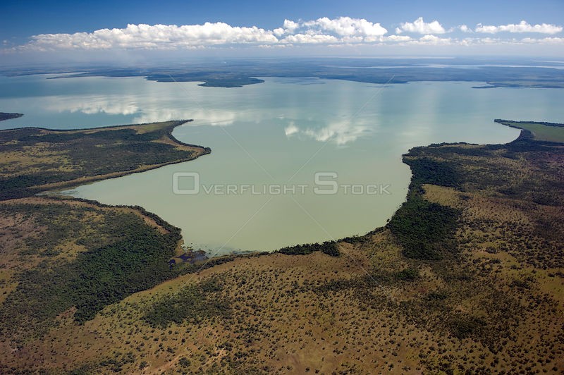 Aerial view of Ginebra Lake in the region of the great lakes of the Beni floodplains, Beni Department, Northeastern Bolivia.
