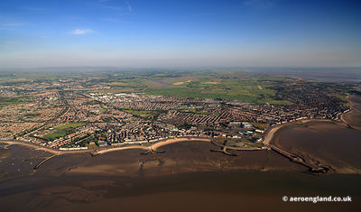 panoramic aerial photograph of Morcambe Lancashire England UK