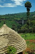 View of hut with thatched roof towards Sipi Falls and tropical vegetation, Mbale Uganda Africa