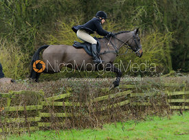 HIlary Butler jumping a hedge from Town Park Farm