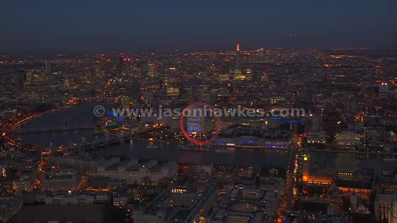 Aerial footage of the River Thames at night, London
