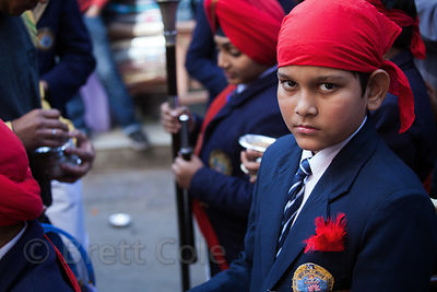 A boy in a Sikh parade in the Paharganj area of Delhi, India