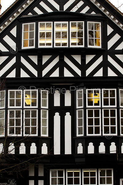 Black and White Timbered Building with Georgian Style Windows