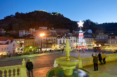 Christmas tree in the historic village of Sintra. Up on the hill, the Castelo dos Mouros ( Castle of the Moors ) dating back to the 10th century, dominates the village. Portugal