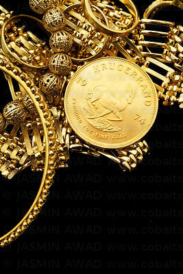 Krugerrand gold coin with gold jewelry