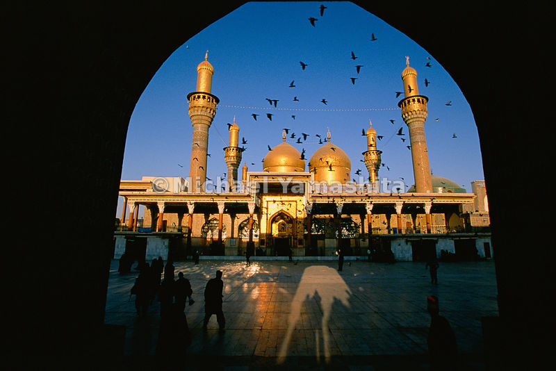 "Marco Polo called Baghdad the ""city of domes"" and it's easy to see why: here the golden domes and minarets of Khadimain Mosques gleam in the full splendor of midday sun.  Baghdad, Iraq"