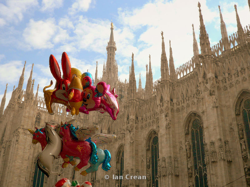 Balloons for sale outside Il Duomo, Milan, Italy