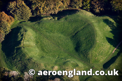 aerial photograph of  Roman Amphitheatre Cirencester Gloucestershire  England UK