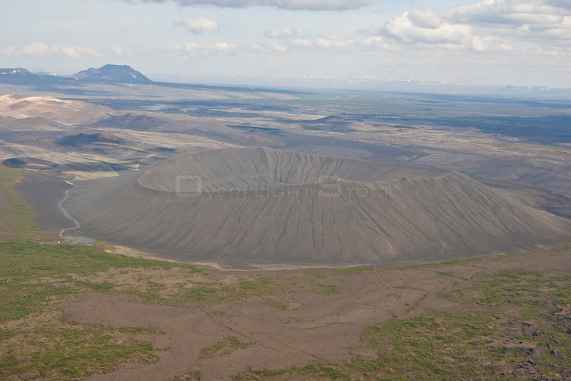 Aerial of Hverfjall Crater, near Lake Myvatn, Iceland, June 2009.