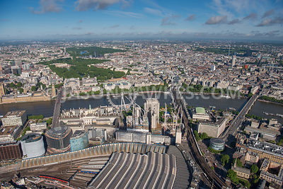 Aerial view of London River Thames, London Eye and Waterloo Station