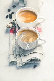 Coffee composition on white marble background