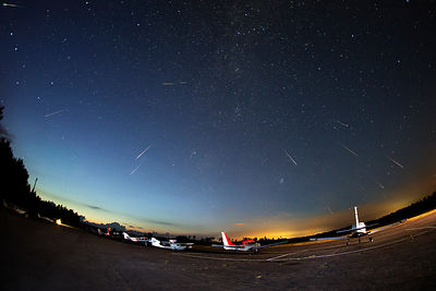 20 meteors belonging to the Perseid meteor shower above the Vesivehmaa airfield on August 13 2015. Composite image.