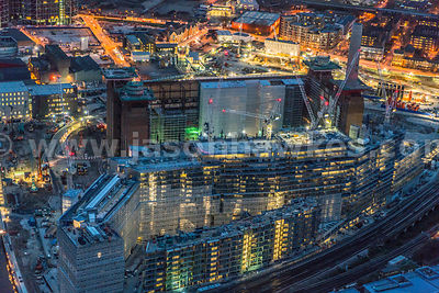 Night aerial view of Battersea Power Station Develeopment, Nine Elms, London