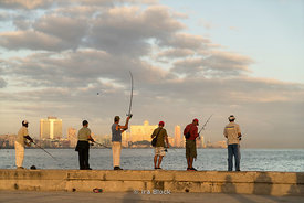 Fishing on the Malecón near Havana Harbor in Havana, Cuba.