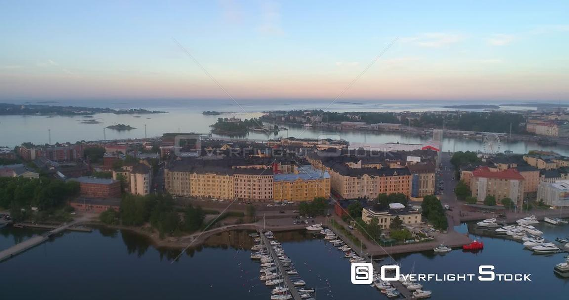 Morning in a City, Aerial Sideway View of the Cityscape of Katajanokka Bay, on a Sunny Summer Sunrise and Dawn, in Helsinki, Uusimaa, Finland