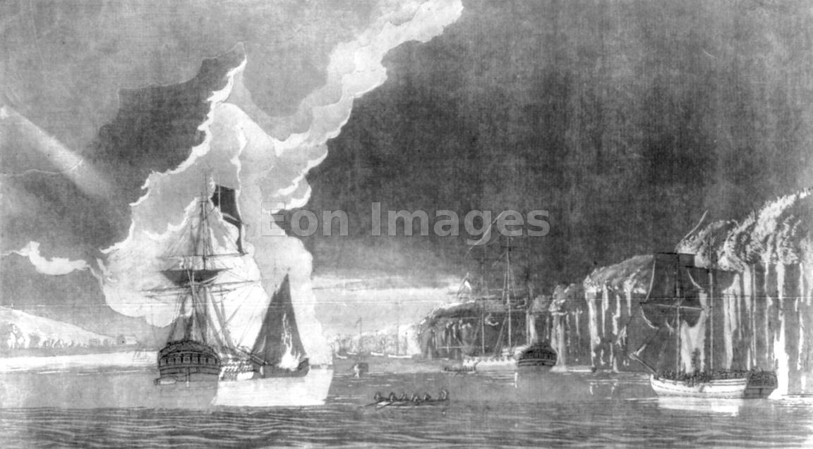 HMS Phoenix and HMS Rose under fire on August 16, 1776