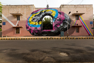 India - New Delhi - Details of NEVERCREW's mural, See through/See beyond on display in the Lodhi Colony area