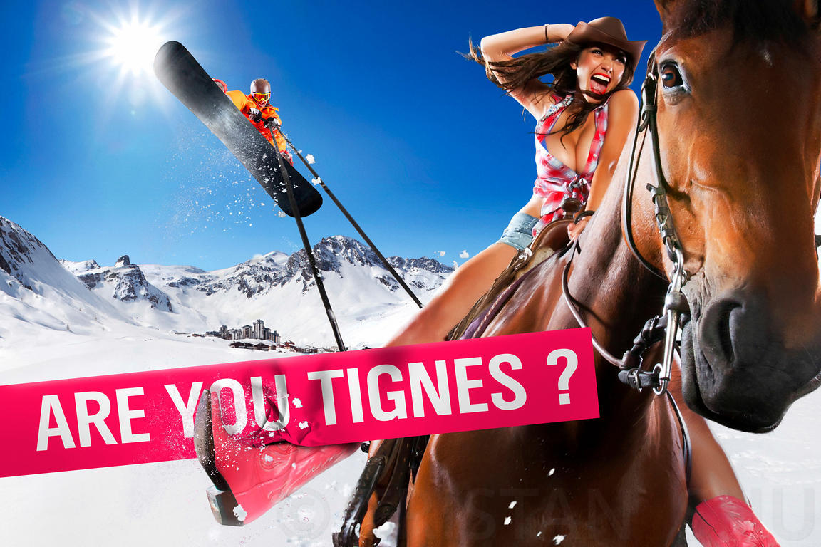 Tignes communication campaign 2010 - the horse and the snowboarder