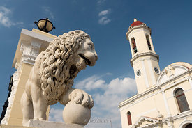 Staute of a Lion at Jose Marti Plaza in Cienfuegos, Cuba.