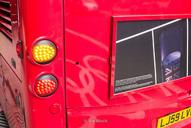 Backlight of a London Bus in London, UK.
