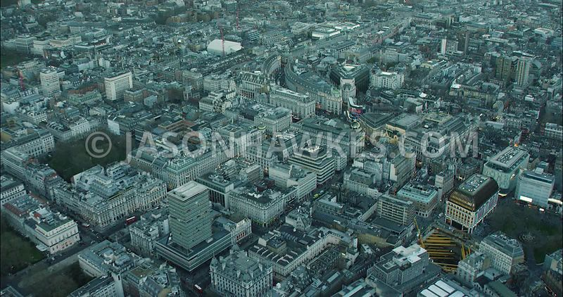 London Aerial Footage of Leicester Square and St James's.