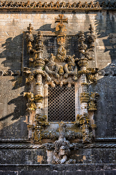 The manueline Chapter House Window, a magnificent stonework, has symbolic elements associated to the mystique of the Spiritual Cavalry and to the role of the Order of Christ in the enterprise of the Discoveries. A Unesco World Heritage Site, Tomar. Portugal