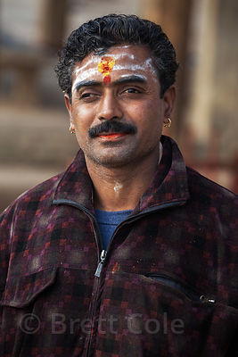 Portrait of a Hindu pilgrim in Varanasi, India.