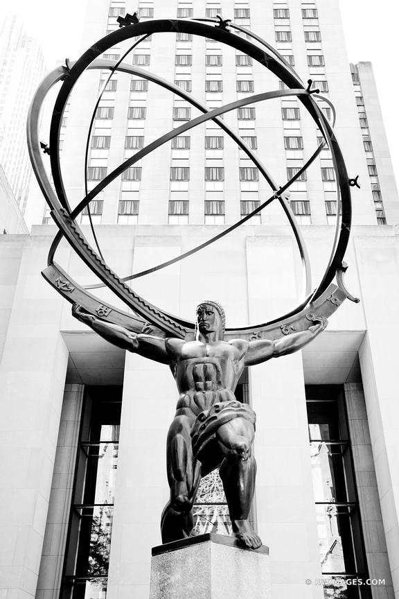 ATLAS STATUE MANHATTAN NEW YORK CITY BLACK AND WHITE