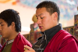 Young monks playing instruments at Paro Dzong, also known as Rinpung Dzong which is a Drukpa Kagyu Buddhist monastery in Paro District, Bhutan.