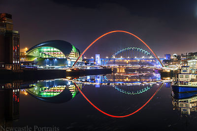 River Tyne at night reflections.