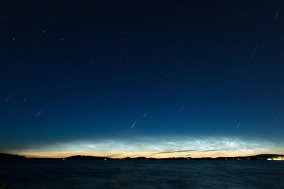 11 Perseids above lake Vesijärvi in Southern Finland on August 14 2015. Composite image.