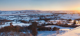 Golden Sunlight on a Snow covered Severn Valley, MId Wales