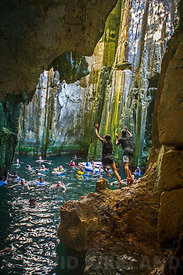 Bathing in the limestone caves at Sawa-i-Lau island, Mamanuca Island group