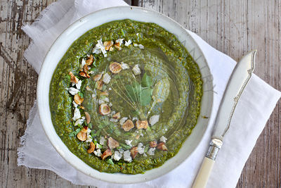 Gorgonzola Hazelnut Cilantro Pesto served in a ceramic bowl