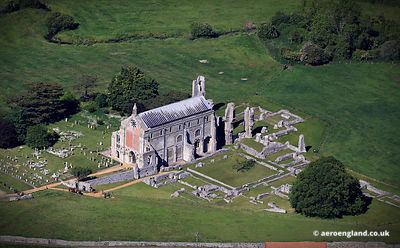 aerial photograph of Binham Priory Norfolk England UK.