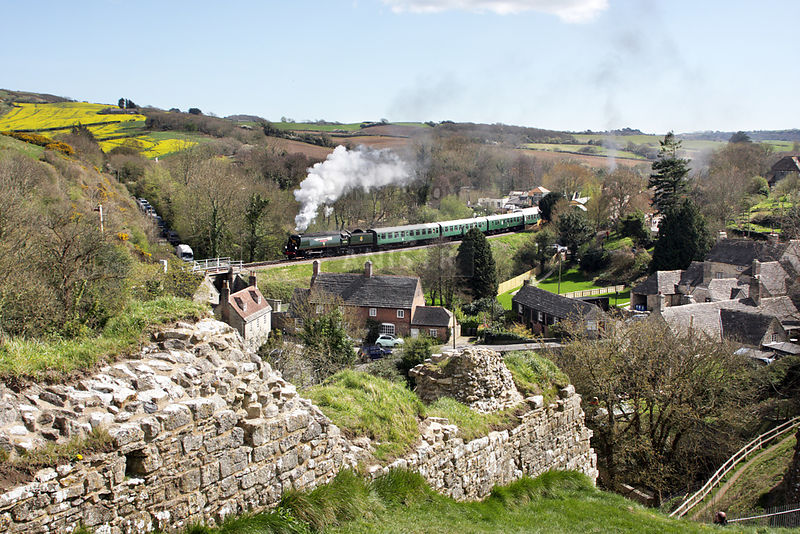 WC Class No 34092 pulls away from Corfe Castle with the 12.20 ex-Swanage during the Swanage Railway 'Strictly Bulleid' Spring Steam Gala 2017  02/04/2017  JOHN H BIRD/ PLATFORM14