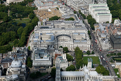 aerial photograph of HM Treasury buildings  ( Her Majesty's Treasury ) Great George St Westminster  London England UK also showing Horse Guards Rd SW1A 2HQ,  Middlesex Guildhall Little George Street SW1P 3BB and The Queen Elizabeth II Conference Centre Broad Sanctuary SW1P 3EE