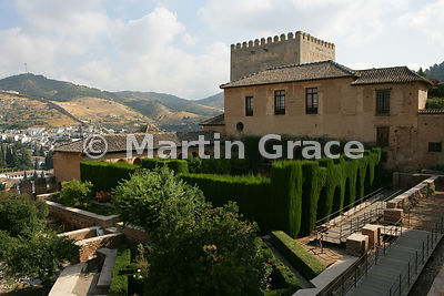 The enclosed Patio de Machuca (Machuca's Courtyard) in front of the Mexuar of the Nasrid Palaces, Alhambra, Granada, Andalusia, Spain