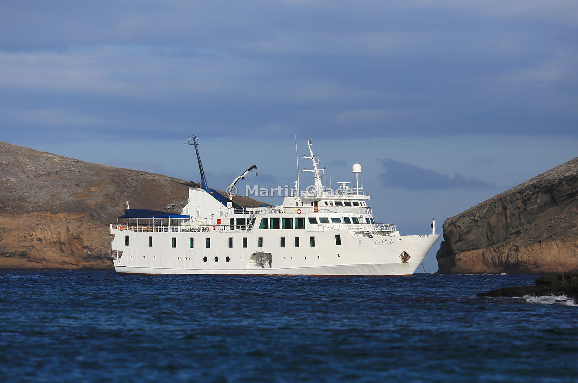 Tourist Ship M/V La Pinta anchored off Sombrero Chino, Galapagos