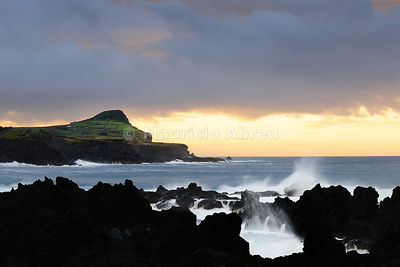 A stormy day at dusk, in Biscoitos. Terceira, Azores islands, Portugal