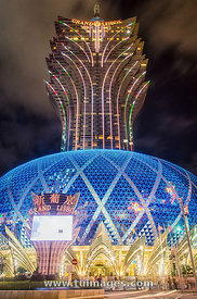 Grand Lisboa Hotel and Casino in Macau China at night