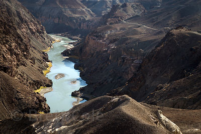 View of the Indus River from spectacular Zinchen road near Leh, Ladakh, India