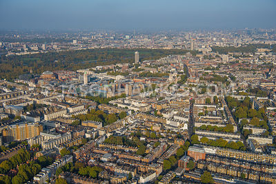 Aerial view of South Kensington, looking to Natural History Museum, Kensington and Hyde Park.
