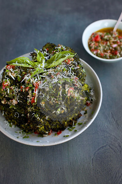 Chard Broccoli Head with Tomato Italian Style Salsa Verde
